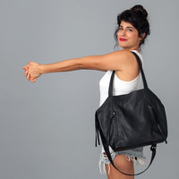 Black Leather Bag- Soft Leather Tote Bag - CrossBody Leather Bag - Office Bag - OverSize Bag - Zippers Bag