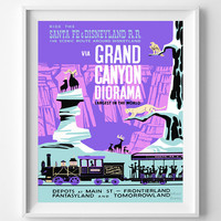 Disneyland Vintage, Disney Poster, Disneyland Print, Grand Canyon Diorama, Disney, Tomorrowland, Fantasyland, Reprint, Halloween Decor