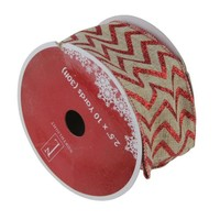 "Dazzling Red and White Chevron Wired Christmas Craft Ribbon 2.5"" x 10 Yards"
