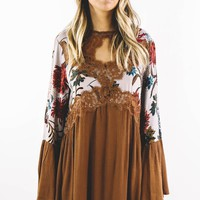 Tell The World Latte Floral Print Bell Sleeve Dress