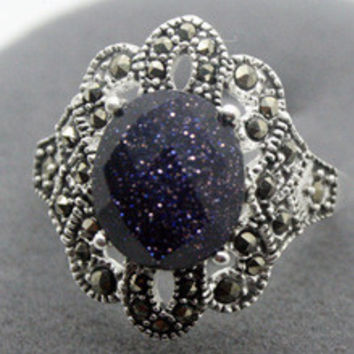 Free shipping RARE STERLING SILVER(925)BLUE GOLDSTONE MARCASITE JEWELRY RING SZ 7/8/9/10