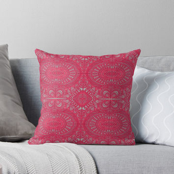 'Mehndi Ethnic Style G343' Throw Pillow by MEDUSA GraphicART