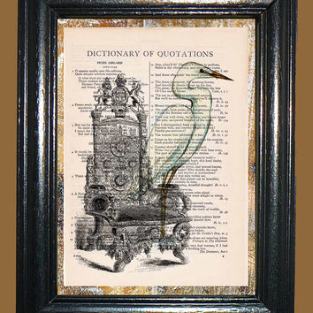 Antique Ornate Chair with White Stork Art - Vintage Dictionary Book Page Art Upcycled Page Art Collage Art