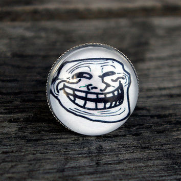 Trollface meme - adjustable ring
