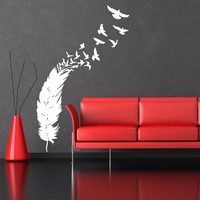 Wall Decals Vinyl Sticker Decal Art Home Decor Murals Plumage Feather Birds Nib Falling Feather Peacock Fashion Bedroom Children Room Nursery Baby Kids Rooms AN360