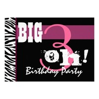 30th Thirty Birthday Party Pink Zebra Template Invitations You Online Personalize