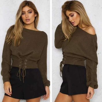 MY MALL METRO  women lace-up Long-Sleeve pullover sweater  Check Homepage for Promo Codes! <