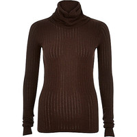 Brown ribbed roll neck knitted top