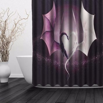 Fashion Custom New Popular Print Dragon Waterproof Bathroom Shower Curtain Valance With 12 Hooks 60''x72''