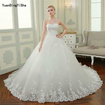 Real Photos Sexy Lace Wedding Dress Sweetheart 2017 Cathedral Train Robe De Mariage Vestido De Noiva Lace-Up Bridal Ball Gown