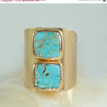 Valentins Day Sale Turquoise Ring, December Birthstone, Statement Cocktail Turquoise Ring, Gemstones Ring, 24K Gold Wide Band Ring.