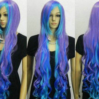 Now ready amazing mermaid inspired 100cms wig in purples and blues FREE SHIPPING