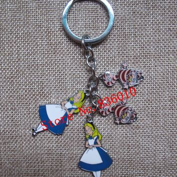 New 1 set Cartoon  Alice in Wonderland Princess Cat Keychain  Jewelry Accessories  Key Chains  Pendant  Gifts  Favors LK-1