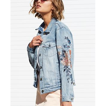 minkpink - wild flower denim jacket - dusty blue
