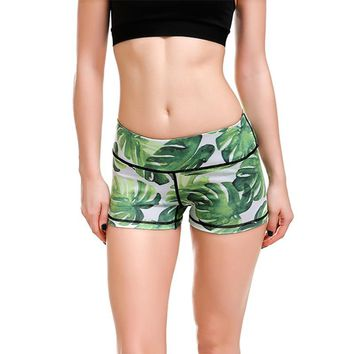 New Hot Women Slim Hip Sexy Shorts Gym Fitness Exercise Shorts Elastic Girls Green Leaf Quick-dry Lady Sports Tennis Shorts