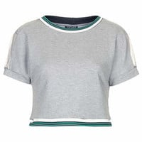 Sporty Rib Crop Tee - Grey