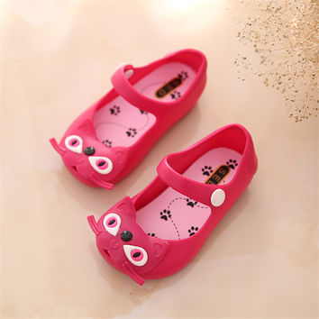 Same Star Mini Melissa Cat Jelly 2016 Summer Girls Sandals Children Jelly Sandals Shoes Beach Sandals High Quality Melissa Shoes