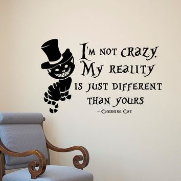 Alice in Wonderland Cheshire Cat vinyl wall art decal kids room decor diy wallpaper removable wall stickers