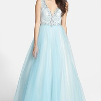 Junior Women's Mac Duggal 'The Elsa' Deep V-Neck Ballgown