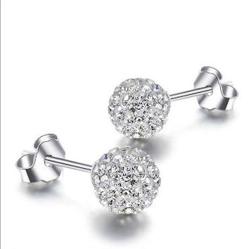fashion Crystal Rhinestone Micro Pave Disco Ball Silver Plated Stud beads Earring jewelry for women = 1668755716