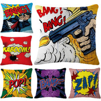 Pop Art Boom Pillows Cover Fashion Cushion Cover Linen Case Home Decoration Car Sofa Decorative Pillowcase coussin 45x45cm