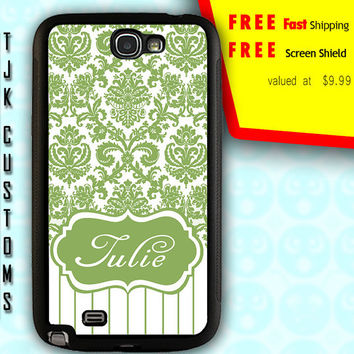 Note 2 Damask Case Note 2 Case Note 2 Custom Monogram Case Note 2 Damask Print Case Rubber w/ Metal