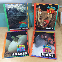 Lot of Extremely Weird Books • Sarah Lovett • Bats, Birds, Snakes, Endangered Species • Circa 1993 • 4 Hardback Books • Children Home School