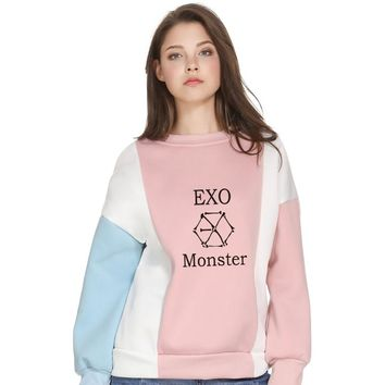Harajuku Sweatshirt Kpop EXO Fans Chic Casual Fleece Tracksuit Color Block Fashion Hoodies Pastel Hipster Tops Pullover Jumper