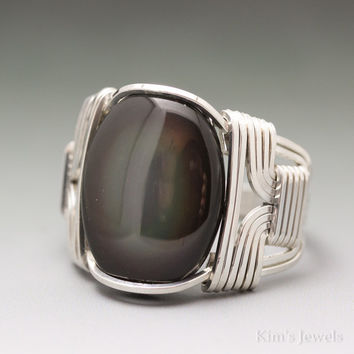 Rainbow Obsidian Sterling Silver Wire Wrapped Cabochon Ring