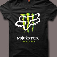 Monster Energy Fox Logo Men Black T Shirt