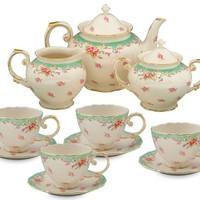 Gracie China by Coastline Imports Vintage Green Rose Porcelain 11-Piece Tea Set, Green