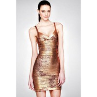 Gold Solid Bandage Dress LAVELIQ