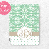 Mint Damask lace Monogram Name polka dots Personalized Smart Cover, custom case for iPad Mini, iPad mini 2 retina, iPad Mini 3 -DM2