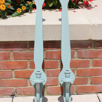 Medieval wall sconces for tall candlesticks, hand-painted in Annie Sloan Duck Egg Blue chalk paint