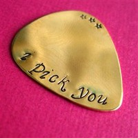 Custom Guitar Pick in Brass - Spiffing Jewelry