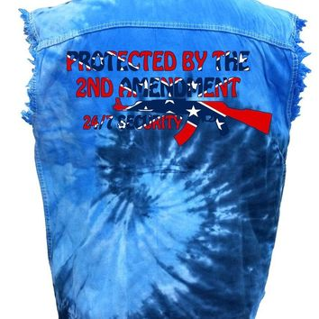 Men's Rebel Flag Sleeveless Denim Shirt Protected by The 2nd Amendment Tie Dye Vest