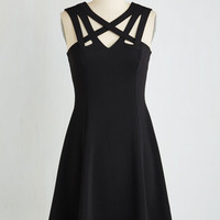 LBD Mid-length Sleeveless A-line Darling of the Dance-a-thon Dress in Black by ModCloth
