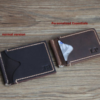 Mens Wallet-Personalized Essentials Leather Money Clip ONLY fits US currency Bifold Wallet Minimalist Clip Wallets Custom Groomsmen Gifts