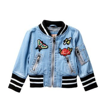 Urban Republic | Chambray Varsity Jacket (Baby Girls) | Nordstrom Rack