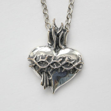 Silver Sacred Heart Necklace in Solid White Bronze with Sterling Overlay