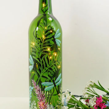 Lighted Wine Bottle Dragonflies Hand Painted by PaintingByElaine