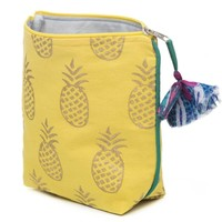 Metallic Print Pineapple Cosmetic or Makeup Bag