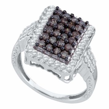 10kt White Gold Women's Round Brown Color Enhanced Diamond Rectangle Cluster Ring 1.00 Cttw - FREE Shipping (US/CAN)