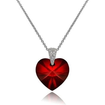 Crystal Heart Shaped Pendant Necklace with Sterling Silver Chain