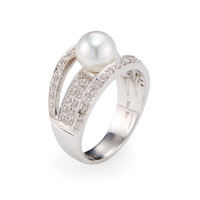 Belpearl Women's South Sea Pearl & Triple Diamond Band Ring - White