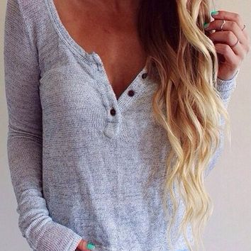 V-Neck Long Sleeved Threaded Shirt