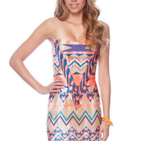 Navajo Dawn Strapless Dress in Tan and Coral :: tobi