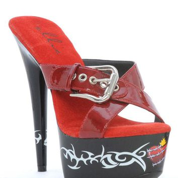 Ellie Shoes Barb Tribal Barbwire Heart Tattoo Platform Sandal (7,Red)