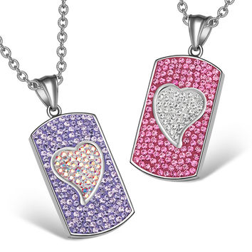 Magic Hearts Austrian Crystal Love Couples Best Friends Dog Tag Purple Fuscia Pink White Necklaces