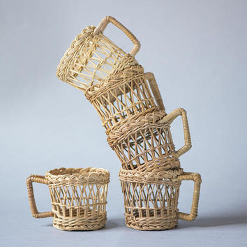 Vintage Woven Cup Holders set 5, Wicker Serving Set 5 Cups Holders, Straw Cup Holders Handmade, Kitchen decor cup Baskets small